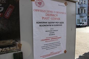 Komornik zaprasza na ostatnie derby Piast - Górnik (ZDJĘCIE)
