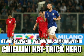 Chiellini sam zagrał sobie mecz - strzelił wszystkie gole