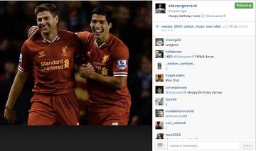 Chyba naprawdę polubili się w Liverpoolu - Gerrard składa życzenia Suarezowi