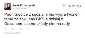 Prezes Pogoni Siedlce na Twitterze: Z sędziami nie wygramy - tydzień temu załatwił nas GKS, teraz Dolcan