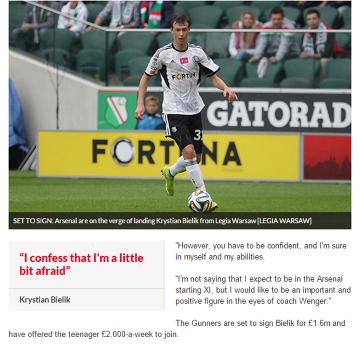 Angielskie media: Bielik jest już piłkarzem Arsenalu