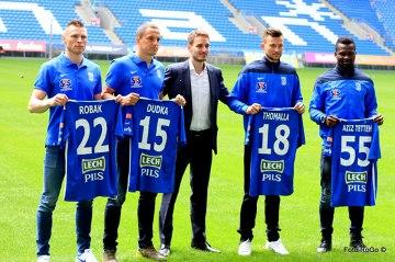 Robak, Dudka, Tetteh i Thomalla - Lech zaprezentował nowych piłkarzy (GALERIA)