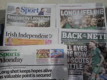"""""""Long shot"""" uratował marzenia o Euro - irlandzka prasa po meczu z Polską (WIDEO)"""