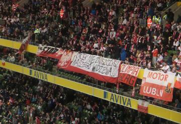 Kibice Widzewa z transparentem na meczu Irlandia-Polska [ZDJĘCIA]